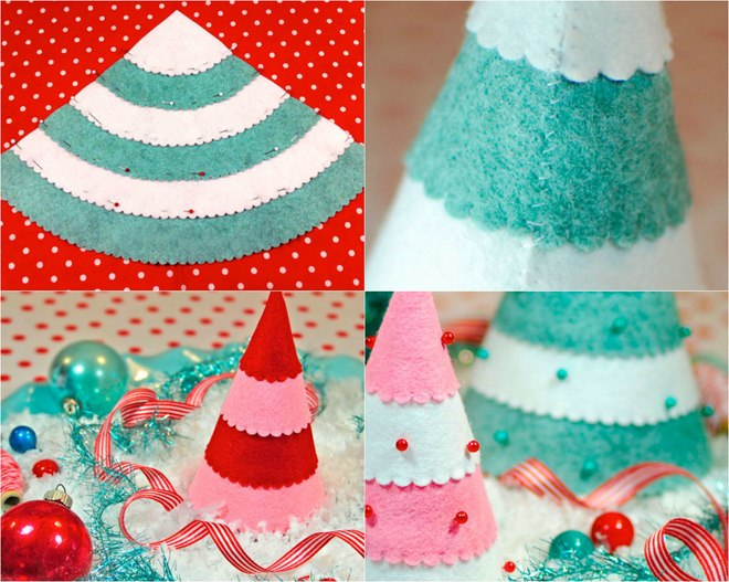 handmade-christmas-trees-table-decor-felt-pieces