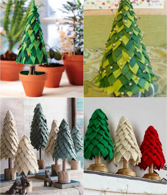 Handmade Christmas Trees Table Decor Felt Triangles Pins