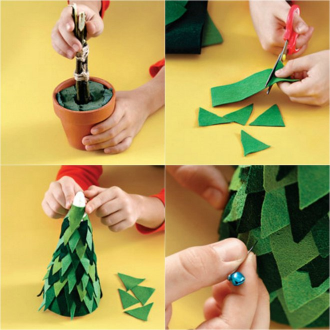 handmade-christmas-trees-table-decor-tutorial-green-felt-pieces-pins