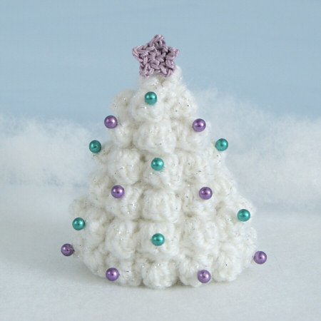 handmade christmas trees white wool balls pearls