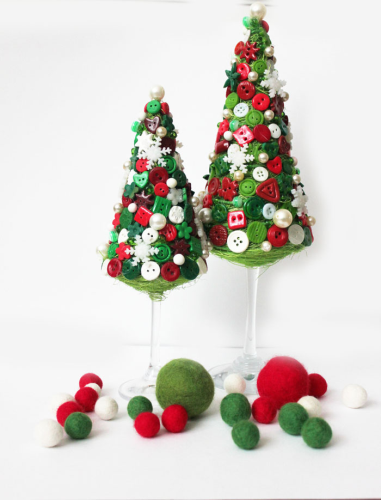handmade Christmas trees -wine-glasses-stem-foot-buttons