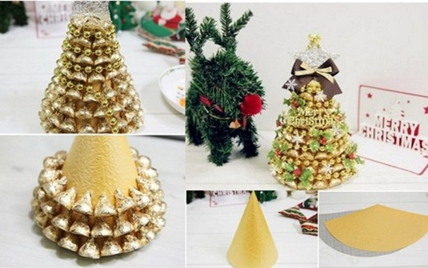 homemade christmas gift idea tabletop tree gold chocolates paper cone