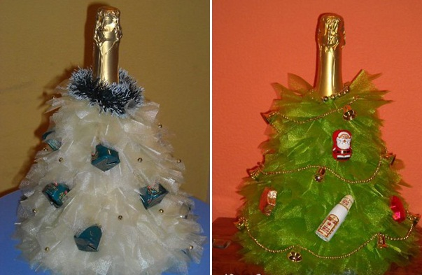homemade christmas gift ideas champagne bottle organza christmas tree