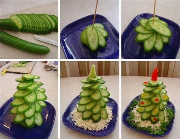 homemade edible christmas trees cucumbers white cheese