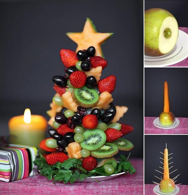 edible christmas trees fruits carrot apple base sticks