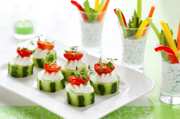 christmas appetizers ideas cucumbers cherry tomatoes cream cheese