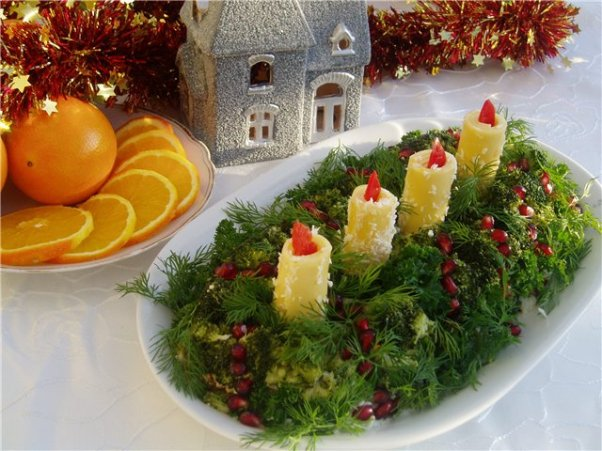 christmas appetizers salad ideas dill coveres candles middle