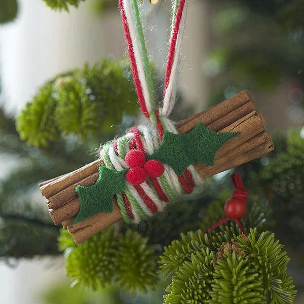 christmas tree ornaments cinnamon sticks yarn holly felt holiday spirit