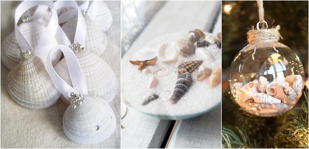 christmas ornaments seashells maritime theme