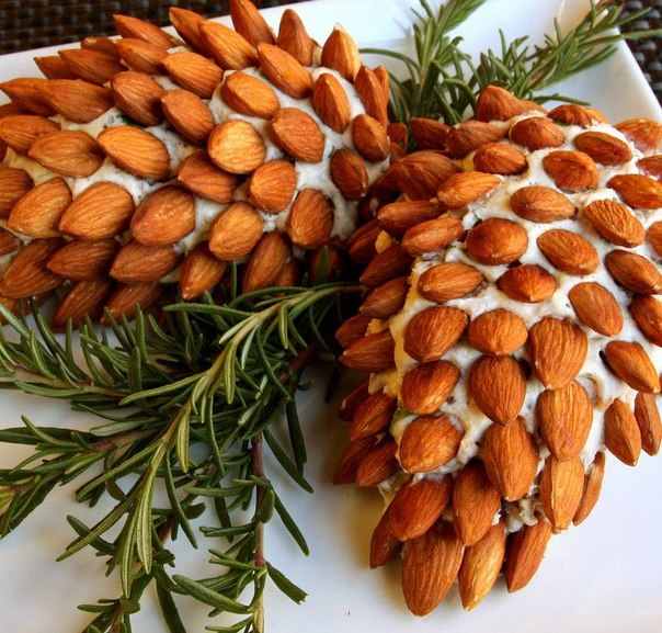 christmas party appetizers ideas pinecones almonds rosemary