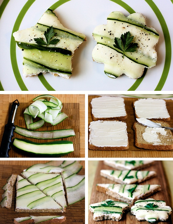 christmas kids snacks ideas sandwiches cookie cutter cucumber slices