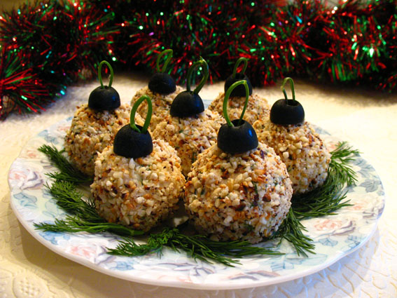 christmas appetizers ornaments balls cream cheese walnuts