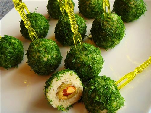 christmas party food green cheese balls dill green olive almond