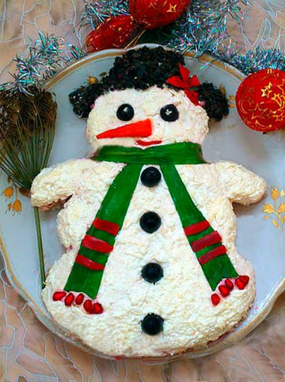 christmas party salad form snowman cheese black olives