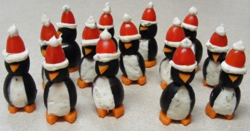 christmas themed appetizers penguins cream cheese olives red hats