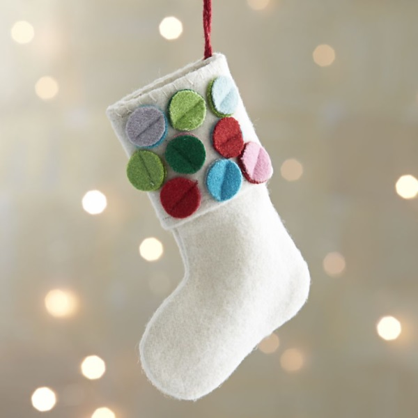 diy christmas tree ornaments ideas white felt stocking
