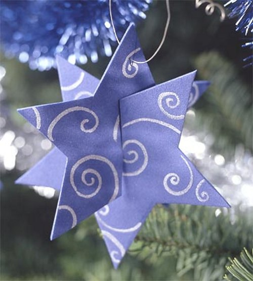 diy christmas tree ornaments paper stars 3d look