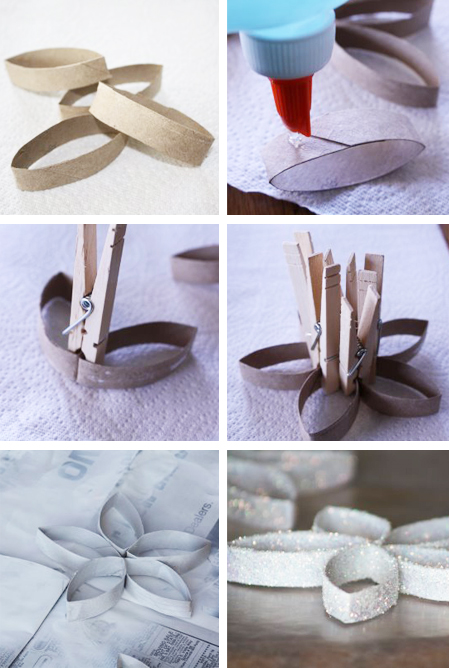 diy christmas tree ornaments toilet paper rolls flowers