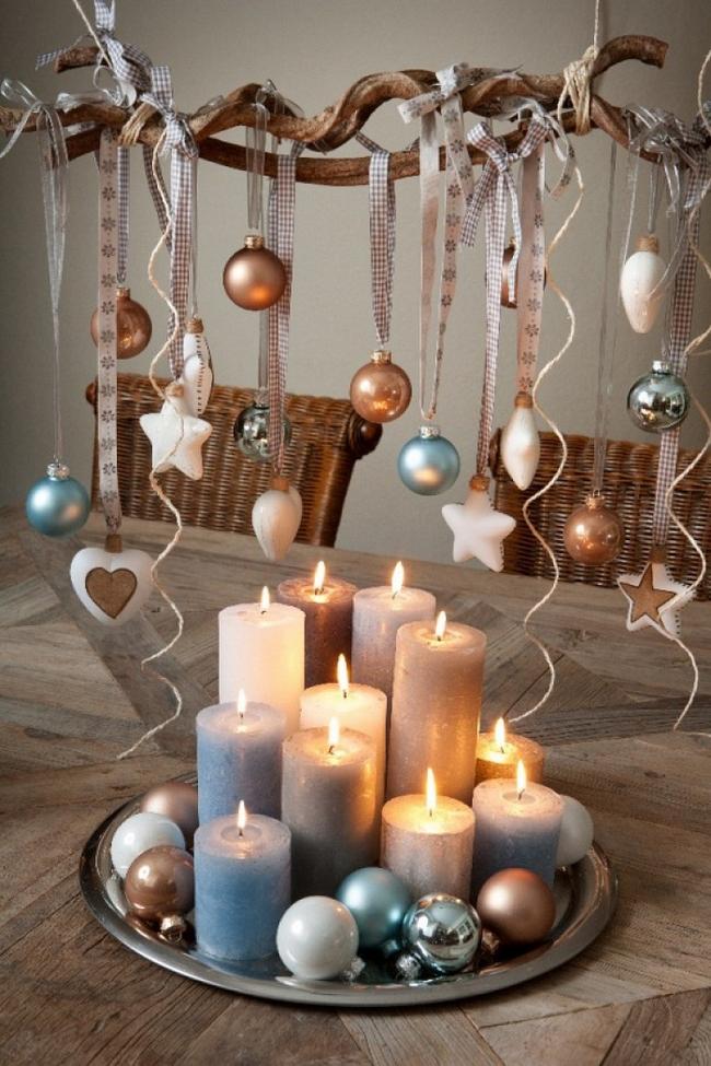 Last-minute DIY Christmas decorations white-blue-brown-color-palette