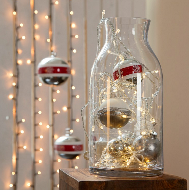 last minute diy christmas decorations glass vase lights - Christmas Vase Decorations