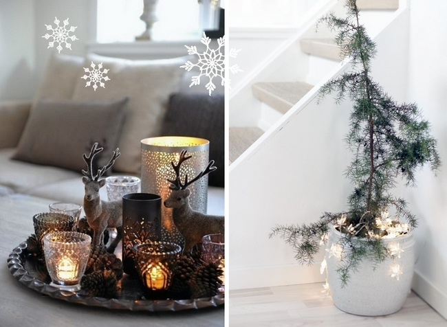 Last-minute DIY Christmas decorations tray-candle-votives-christmas-lights