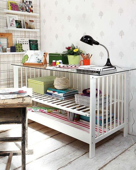 diy home office furniture ideas upcycle baby cot reuse desk glass top