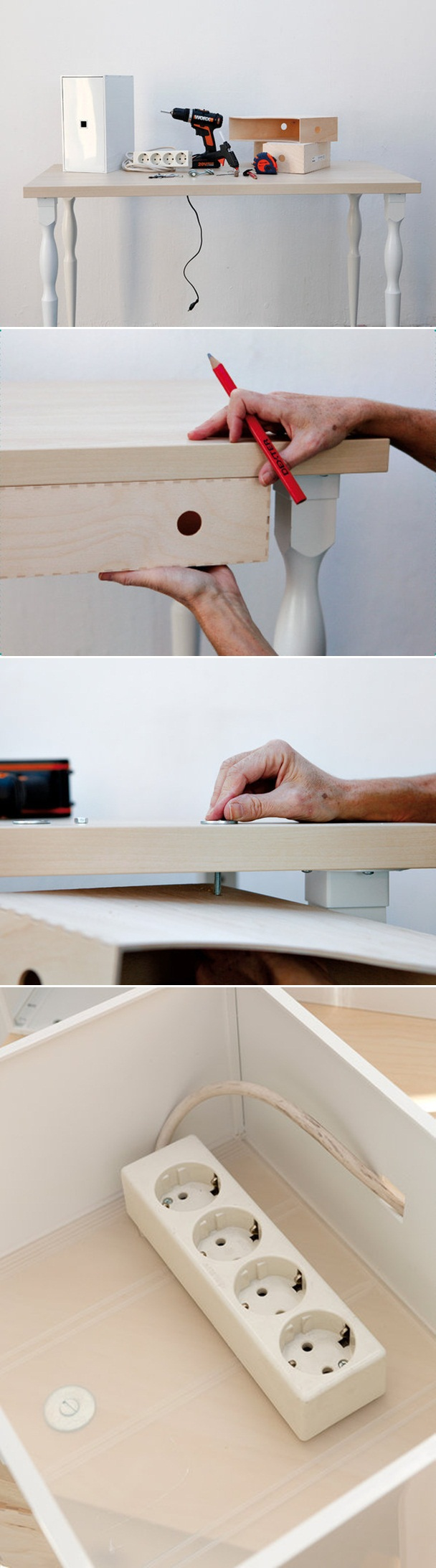 diy home office ideas magazine holder hide power outlet strip