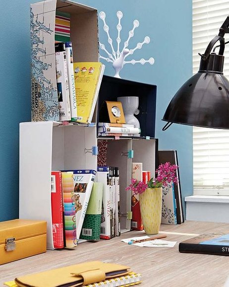 DIY home office organization desk boxes binder clips books