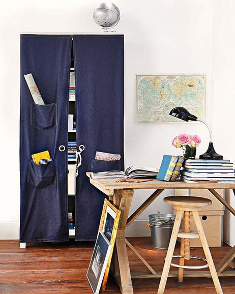 diy home office organization ideas hidden storage curtain pockets