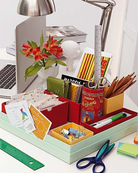 DIY home office organization ideas storage box uncluttered desk