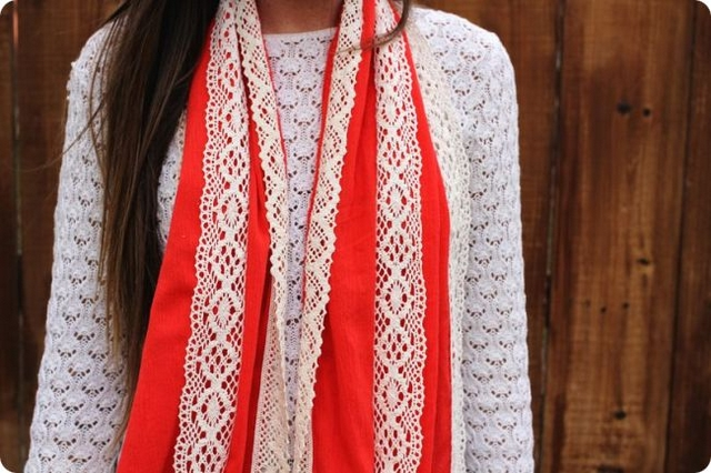 diy scarf easy sewing ideas red cloth lace