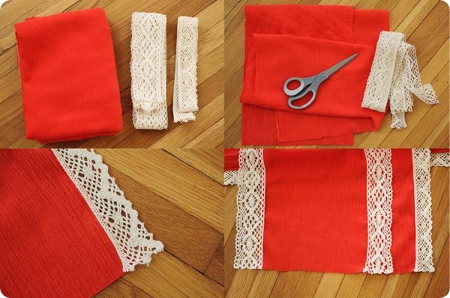 diy scarves  easy ideas red cloth lace sewing
