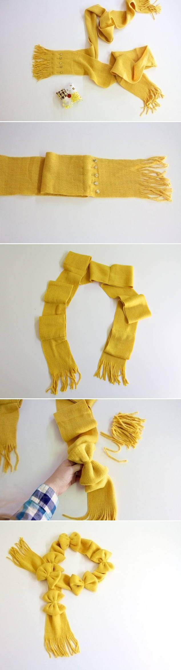 diy scarves easy ideas two scarves ribbons sewing
