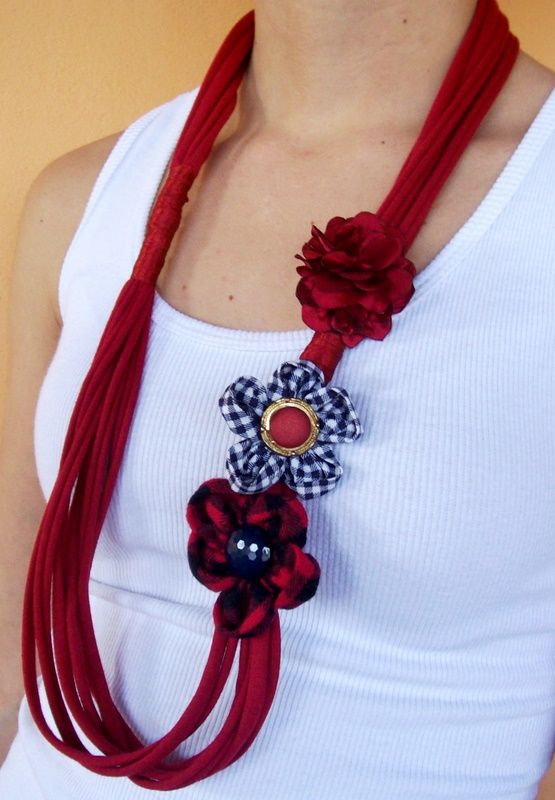 diy scarves t-shirt  easy ideas decorate flowers red