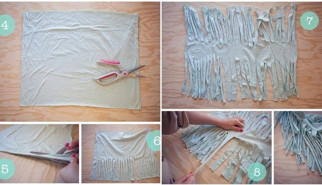 Diy T Shirt Scarf Tutorial Easy Ideas No Sew Light Blue