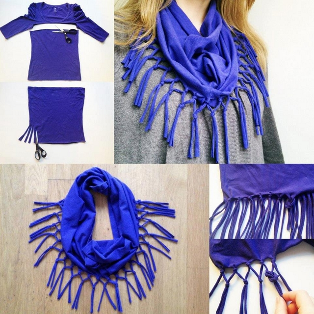 diy t shirt scarf easy ideas no sewing blue