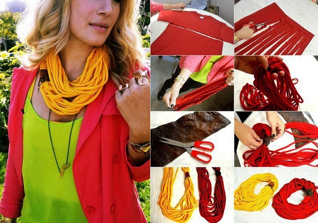 diy tshirt scarf yellow red easy no sew ideas