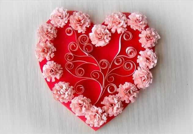 diy valentine's day card kids heart shaped card pink flowers quilling