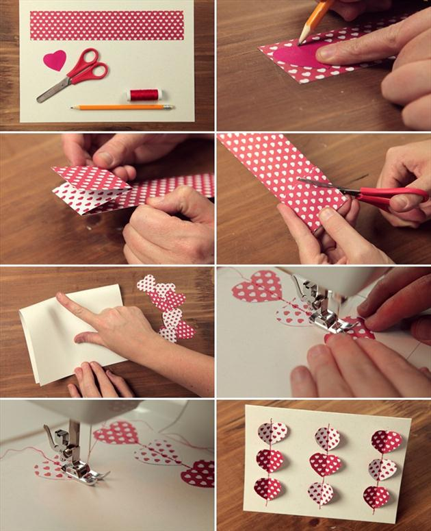 diy valentines day card tutorials sewing idea hearts