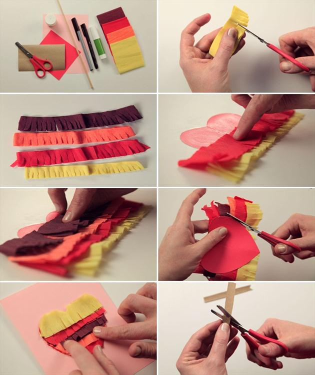 diy valentines day cards tutorial heart colour shades red