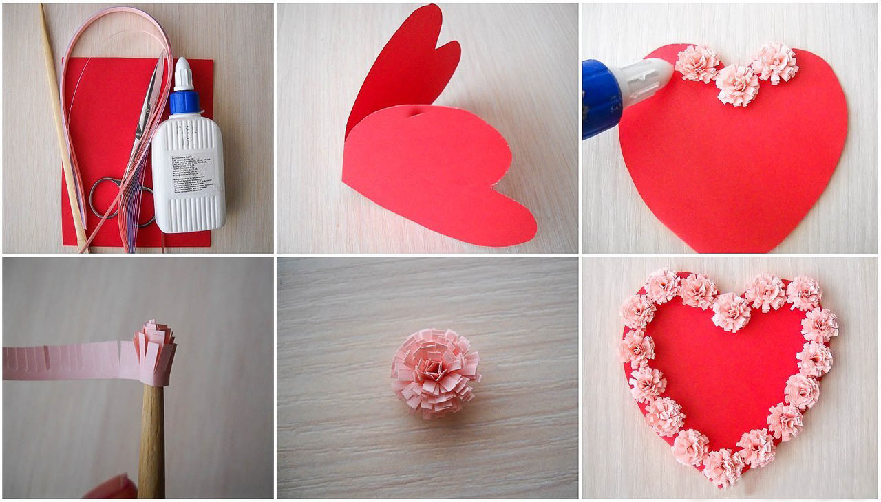 Diy Valentines Day Cards Tutorial Paper Flowers Glue Heart Shaped Paper