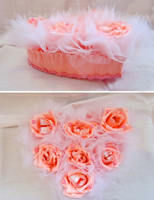 diy valentines day gift idea paper roses white organza beads