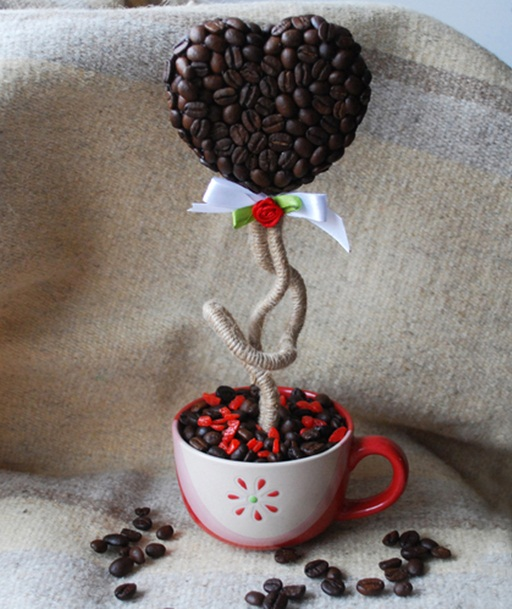 diy valentines day gift topiary coffee mug red rose