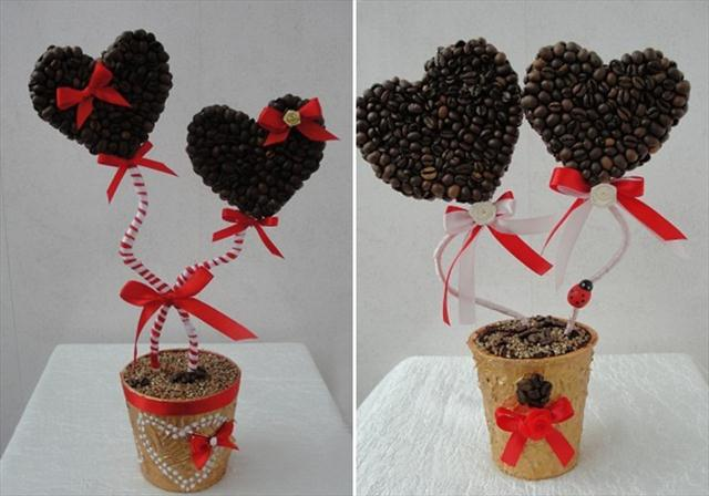 homemade coffee topiary trees hearts valentines day gift red ribbons