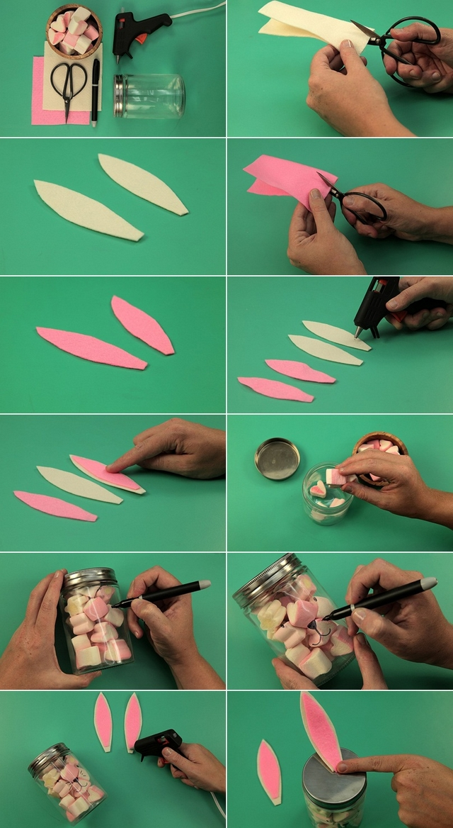 homemade easter gift tutorial felt ears easter bunnies