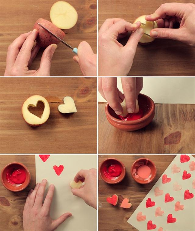 homemade valentine gifts wrapping paper heart potatoe cookie cutter paint