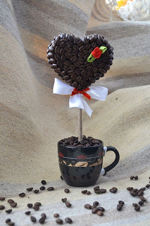 homemade valentines day gift coffee topiary heart mug
