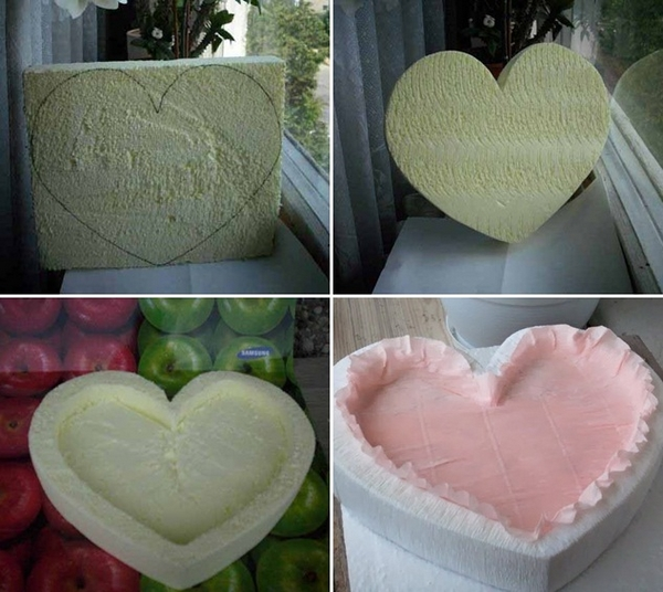 homemade valentines day gift idea foam heart shape crepe paper