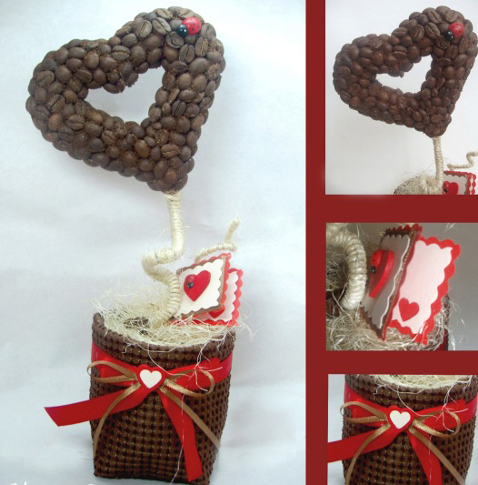 Homemade Valentine's Day gift ideas heart coffee topiary small card