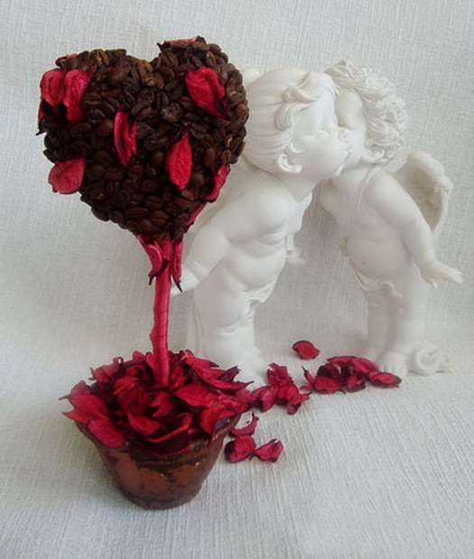 homemade valentines day gift ideas heart topiary tree red potpourri